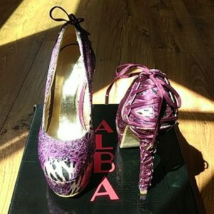 Sexy Purple Animal Print Lace Heel
